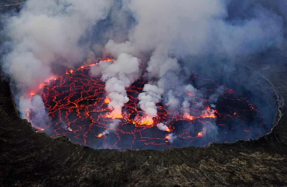 Lava lake in Mount Nyiragongo, Democratic Republic of Congo