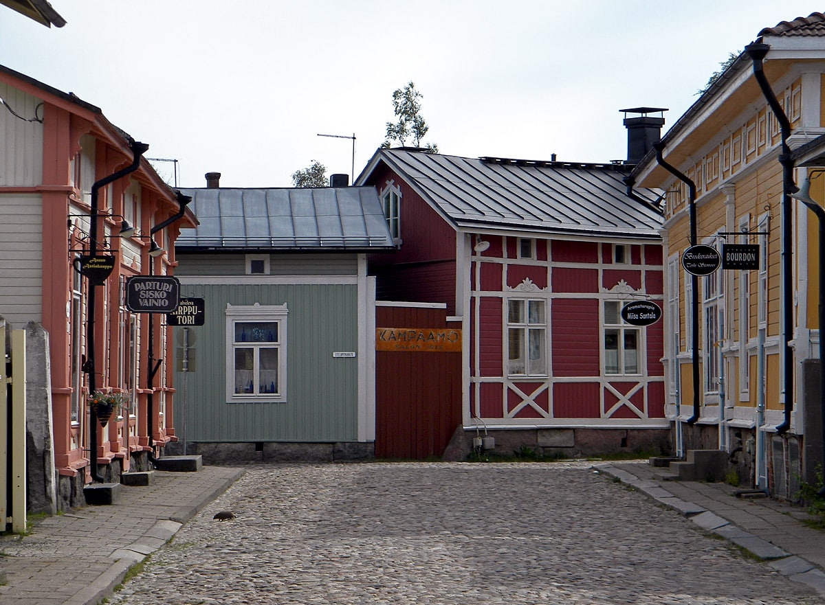 Old Rauma in Finland, note the hedgehog crossing the street
