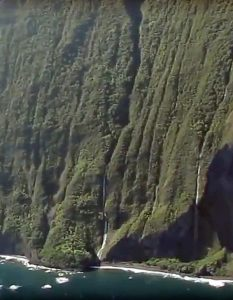 Lower part of Olo'upena Falls. Haloku Falls seen in the right side