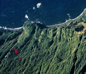 Olo'upena Falls from above, marked with red arrow