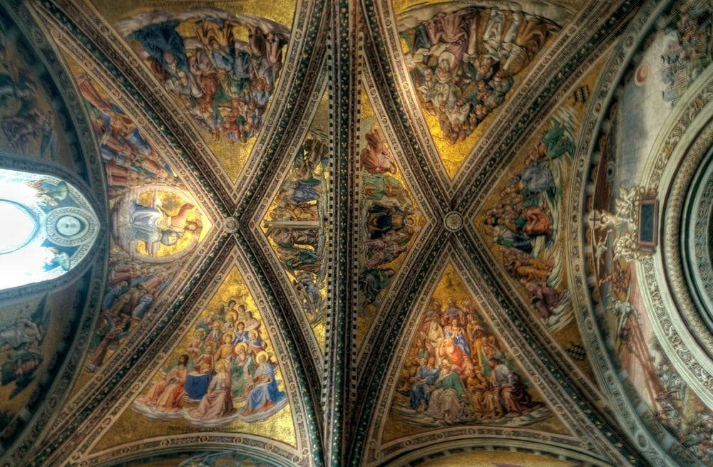 Ceiling of Chapel of San Brizio in Orvieto Cathedral, Italy