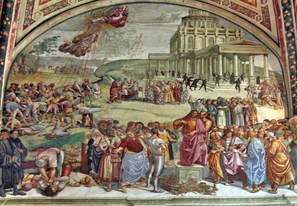 The preaching of the Antichrist, frescoe by Signorelli in Orvieto Cathedral, Italy