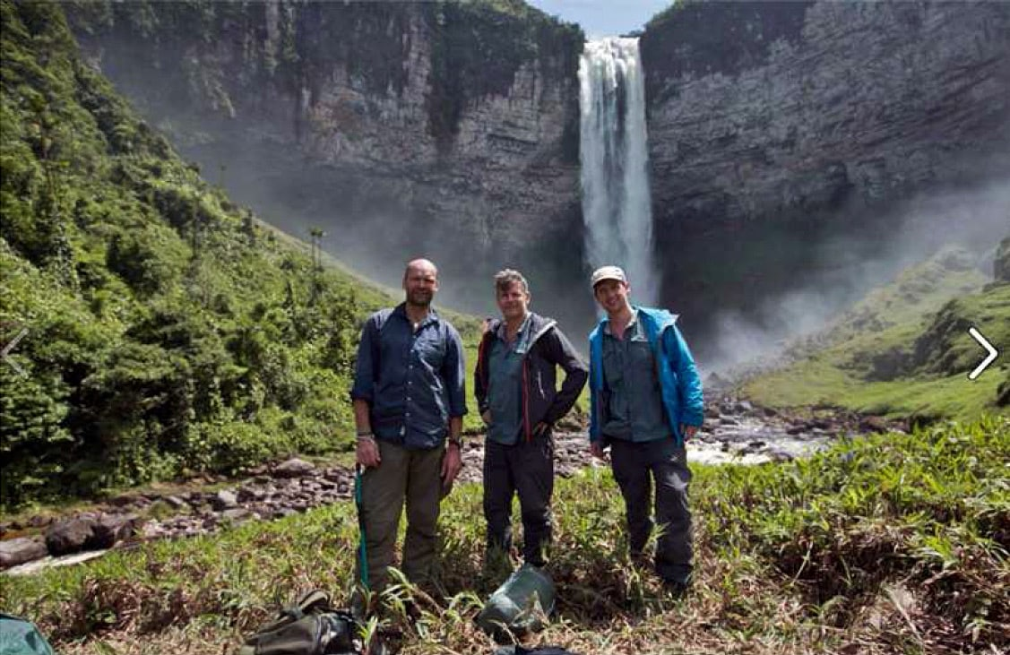 "Oshi Falls and members of ""Lost Worlds"" expedition, Guyana"