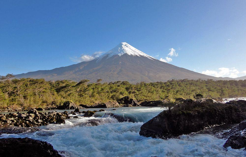 Osorno volcano with Petrohue Falls in the forefront