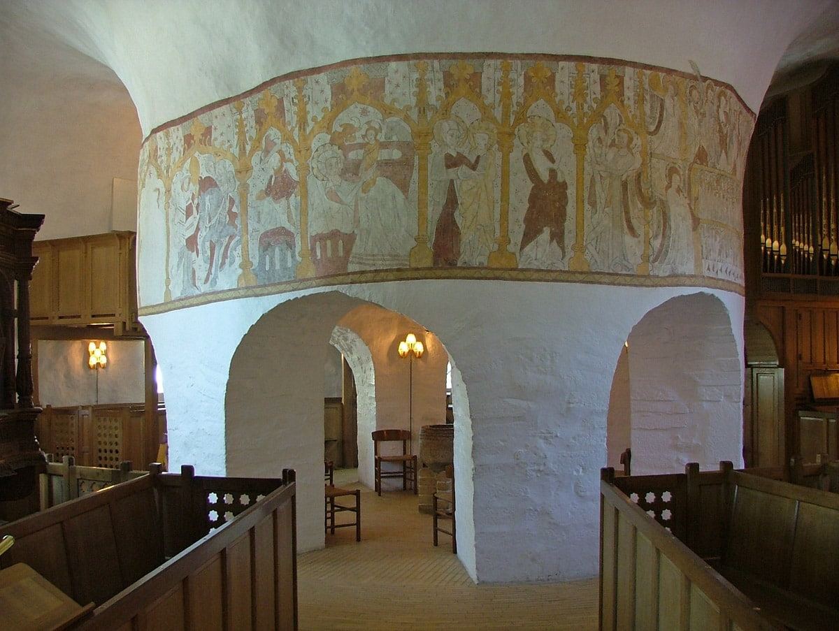 Central column with medieval frescoes, Osterlars Church in Bornholm