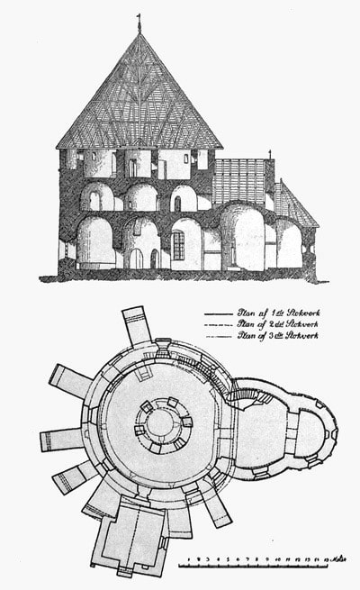 Plan and cross section of Østerlars Church, Bornholm