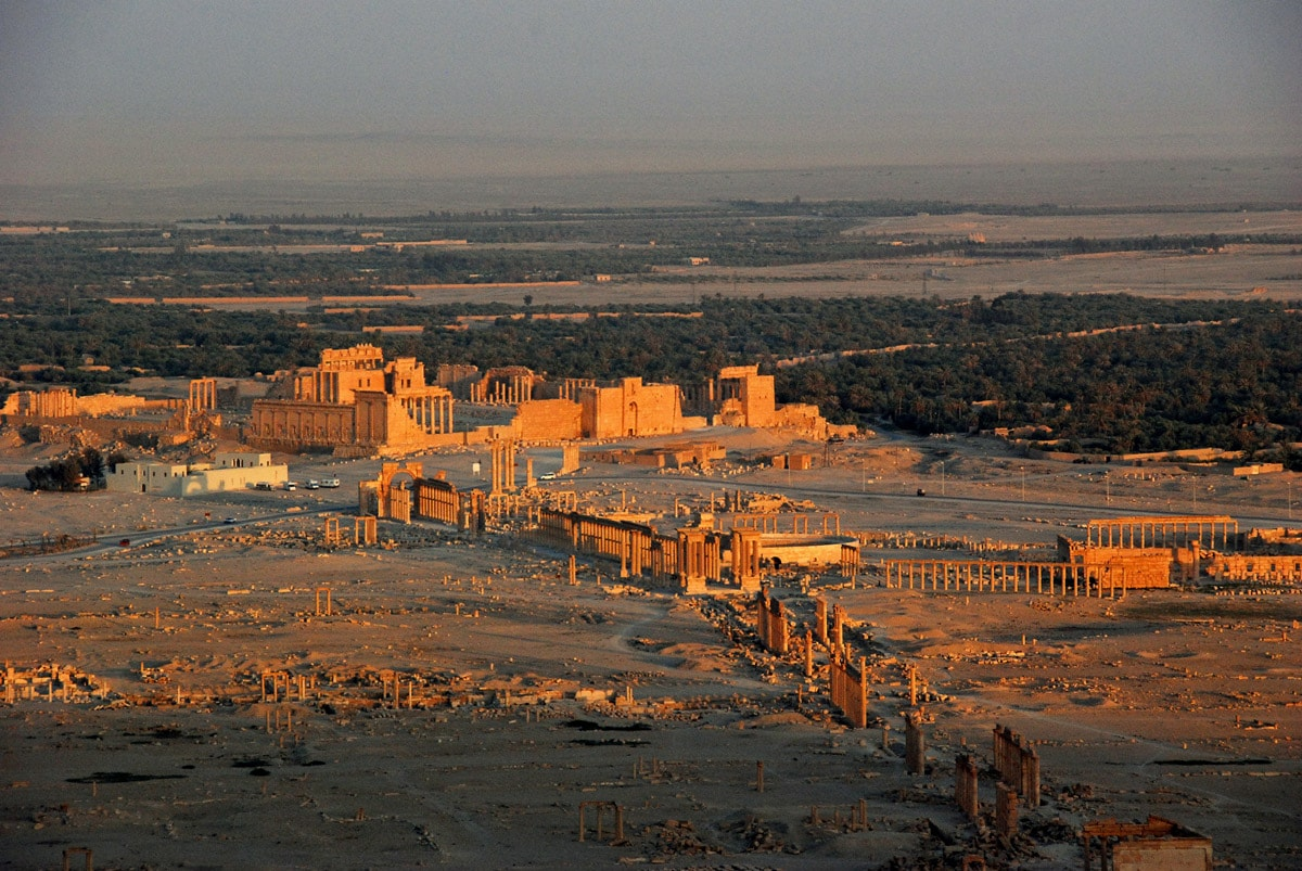 Ruins of Palmyra from above, Syria