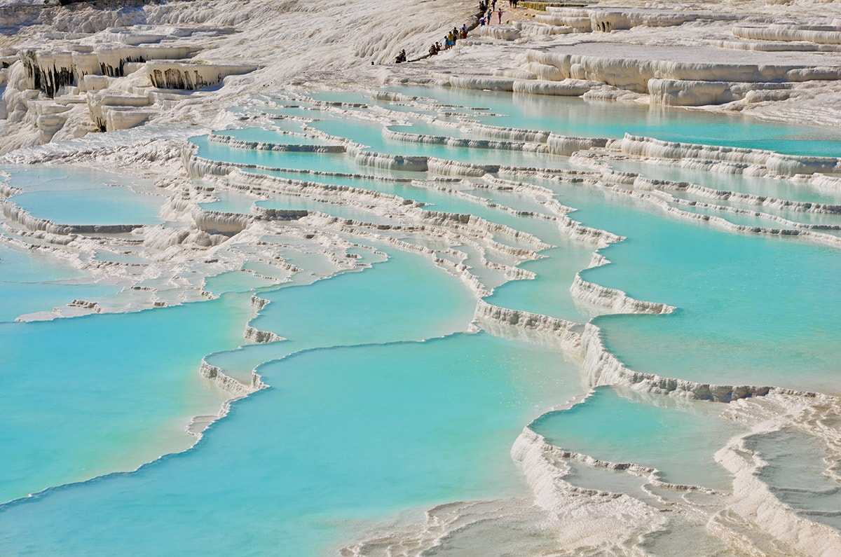 Travertine terraces in Pamukkale, Turkey