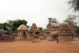 Pancha Rathas in Mahabalipuram, overview from the north