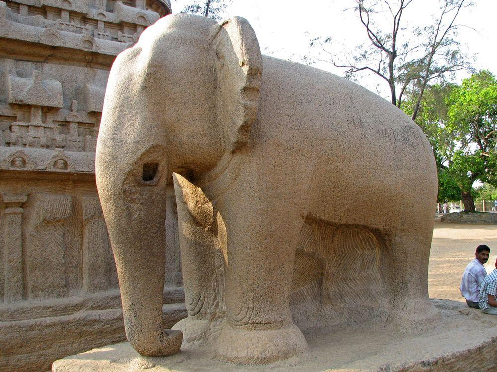 Monolithic sculpture of elephant, Pancha Rathas