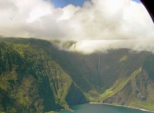 Papalaua Falls from the air, Hawaii