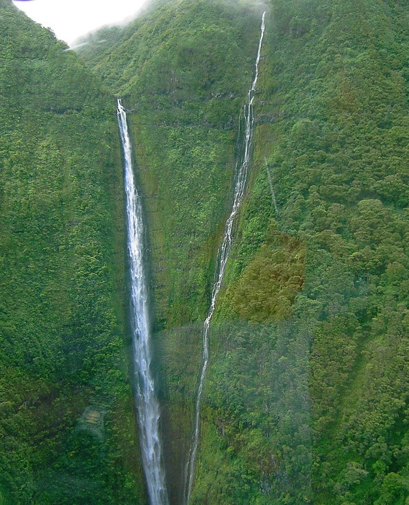 Papalaua Falls in Molokai, two streams