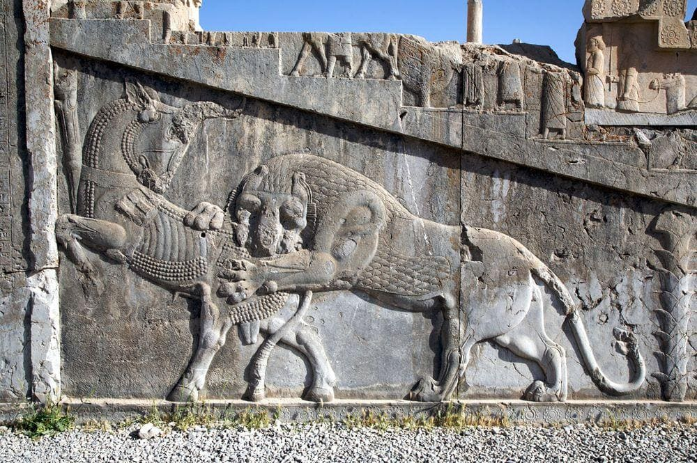 Relief at the base of the Palace of Darius in Persepolis