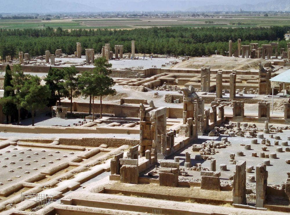 Persepolis. Hall of Hundred Columns in the forefront, Palace of Darius in far right and Palace of Artaxerxes I - in the far left