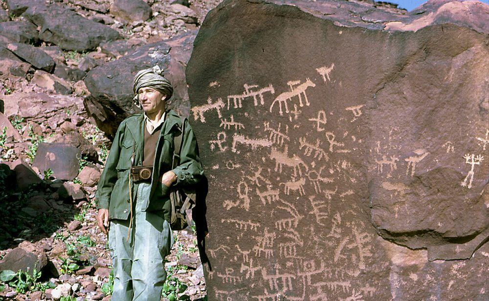 French explorer Henri Lhote and petroglyphs in Mauritania, 1967