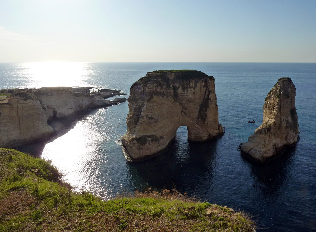 Pigeons' Rock or Rock of Raouché in Beirut