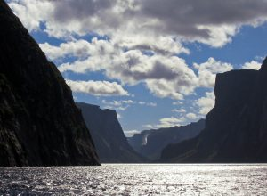 Pissing Mare Falls, as seen over the Western Brook Pond, Canada