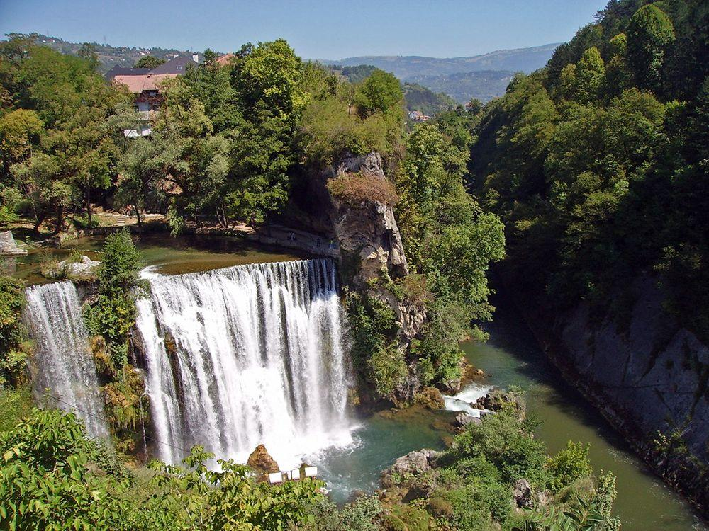 Pliva Falls and confluence with Vrbas River, Bosnia and Herzegovina