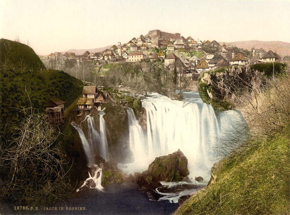 Pliva Falls in the late 19th century