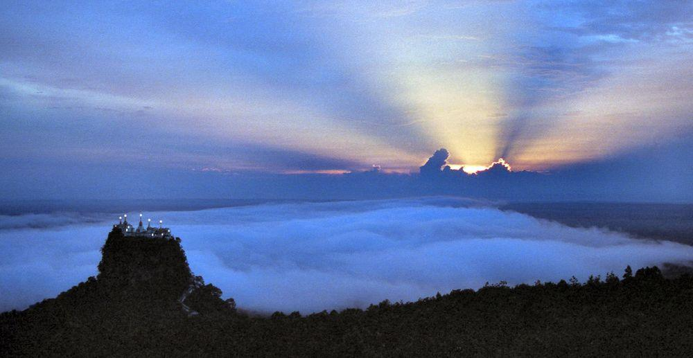 Sunrise over Taung Kalat, view from the summit of volcano, Burma