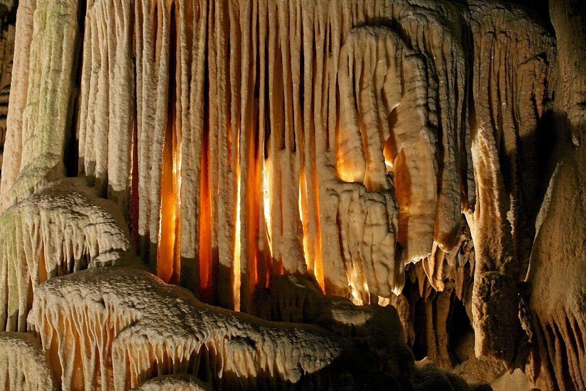 Stone curtain in Postojna cave, Slovenia