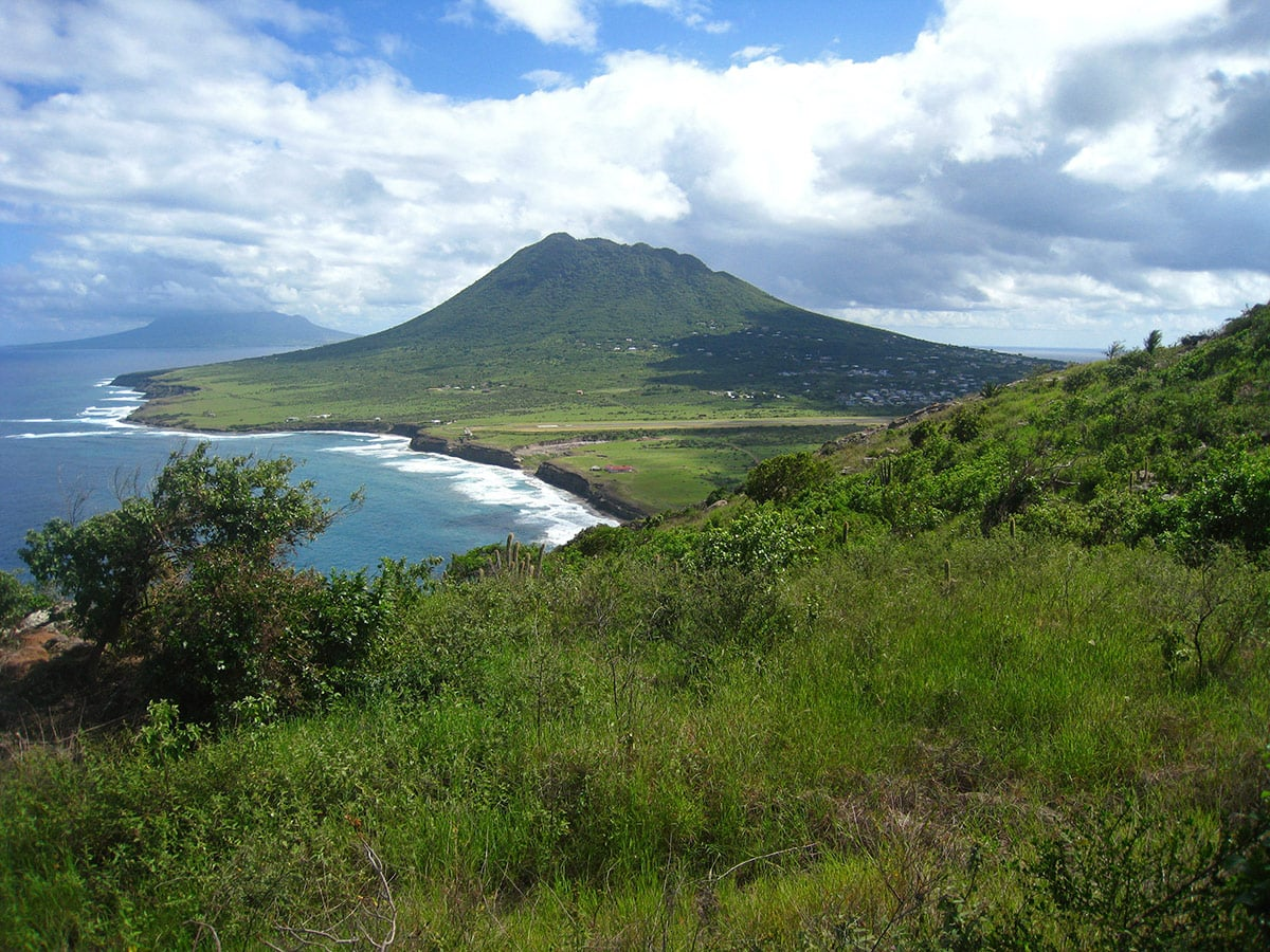 Quill volcano in Sint Eustatius. Far in the background - St. Kitts island