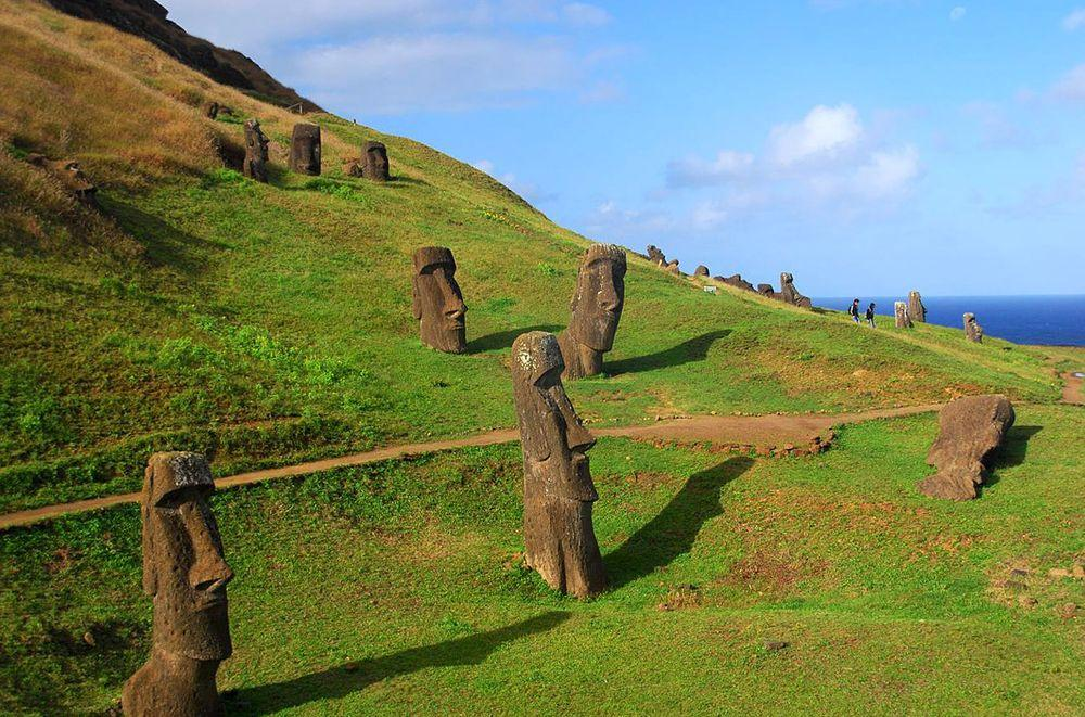 Slopes of Rano Raraku with abandoned moai, Rapa Nui