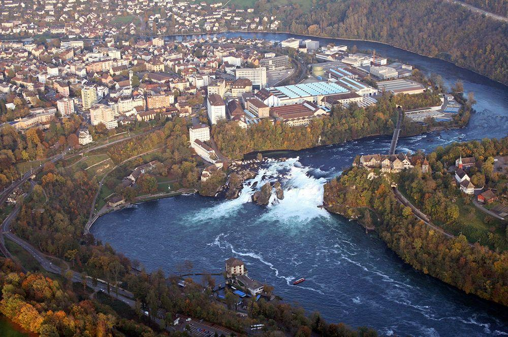Rhein Falls from the air. Below, in the river - Wörth Castle, to the right from the falls - Laufen Castle