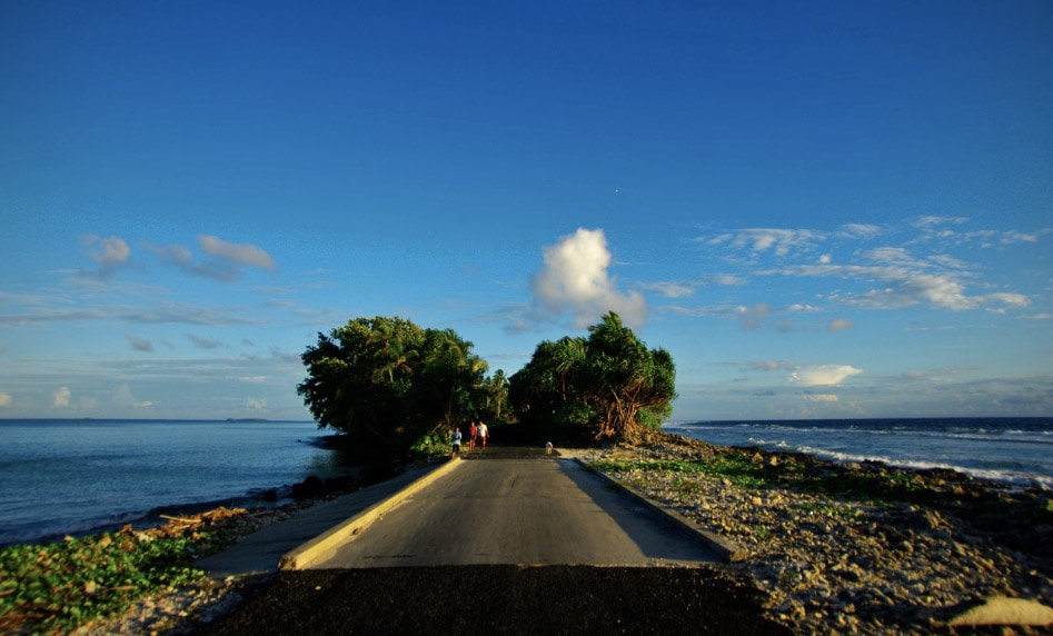Funafuti in Tuvalu - road and ocean