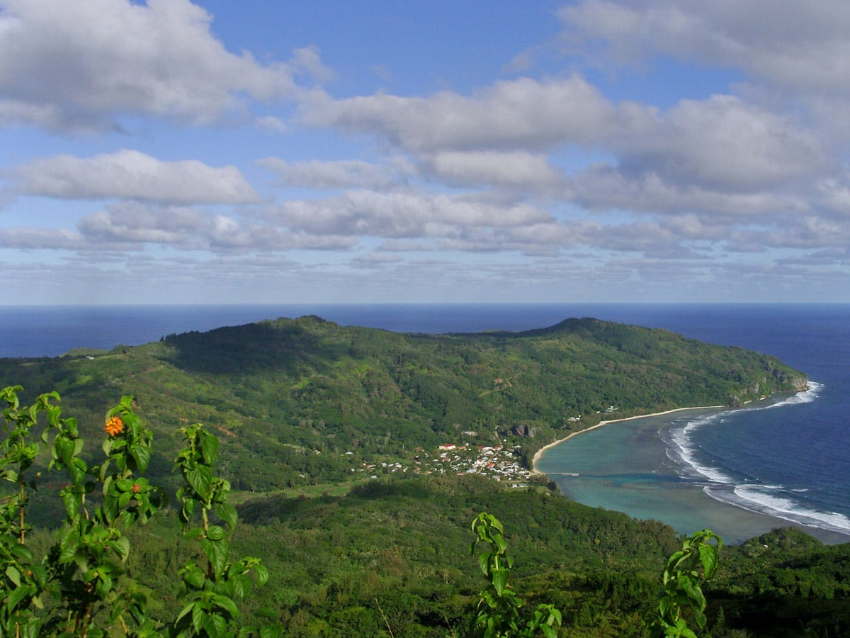 View towards Avera bay, Rurutu in Austral Islands