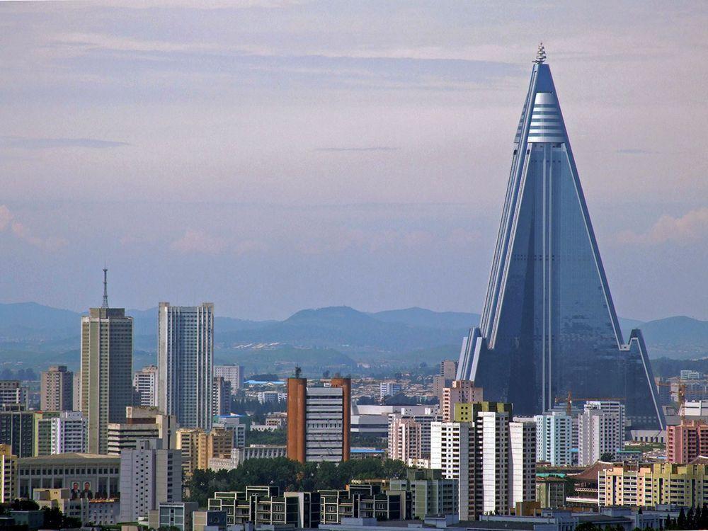 Ryugyong Hotel rising above Pyongyang