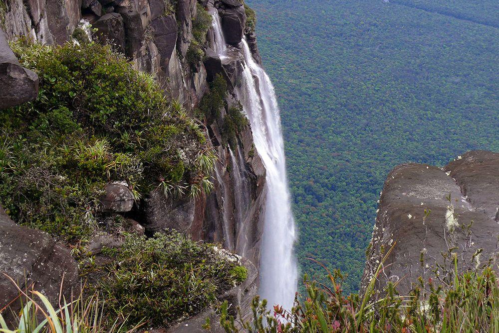 View from the Auyán-tepui with Angel Falls in the forefront, Venezuela