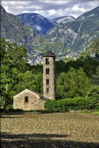Church of Santa Coloma d'Andorra with Andorra la Vella in the background