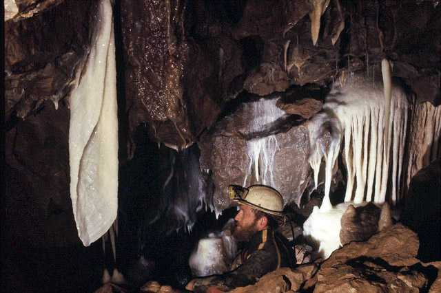 Stalactite curtain in Shatter Cave, Somerset