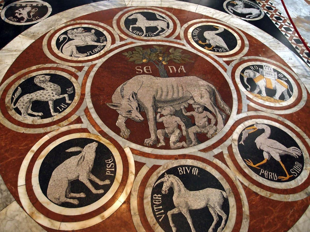 Detail of marble mosaic floor, Siena Cathedral in Italy