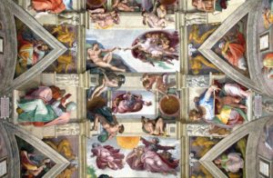 Paintings on the ceiling of Sistine Chapel, Vatican