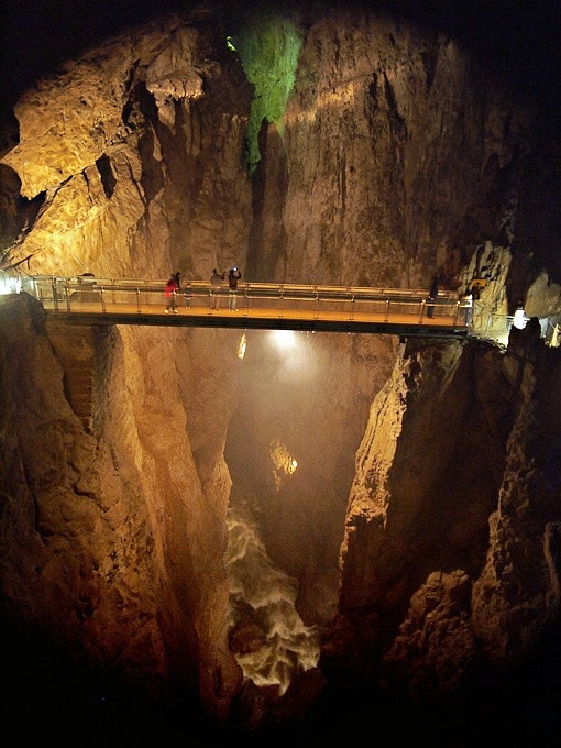 Cerkvenik Bridge 47 m above the underground river, Skocjan Caves