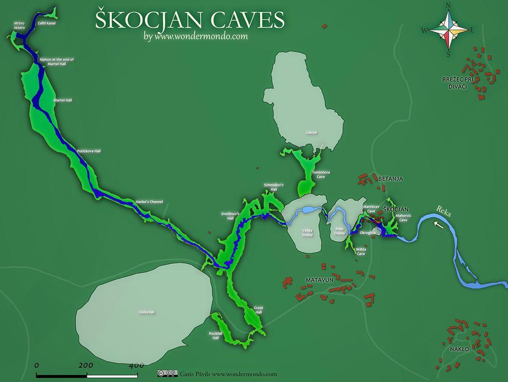 Map of Škocjan caves, Slovenia
