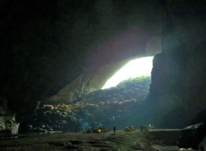 Camp in the entrance part of Son Doong Cave, Vietnam