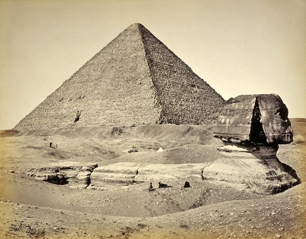 Great Sphinx of Giza in 1858, half buried in the sand