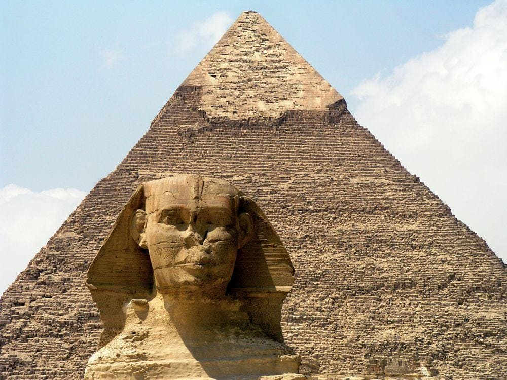 Head of Great Sphinx and Pyramid of Chephren