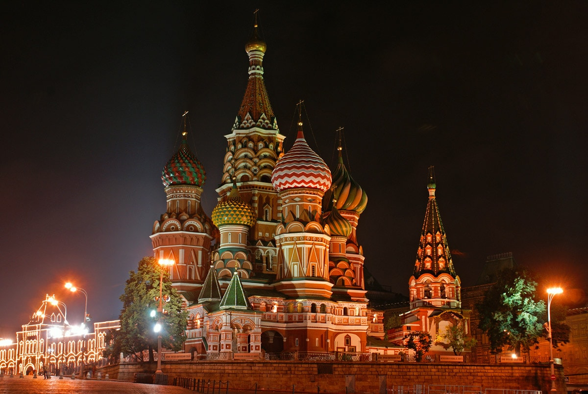 St. Basil's Cathedral in Moscow in the night