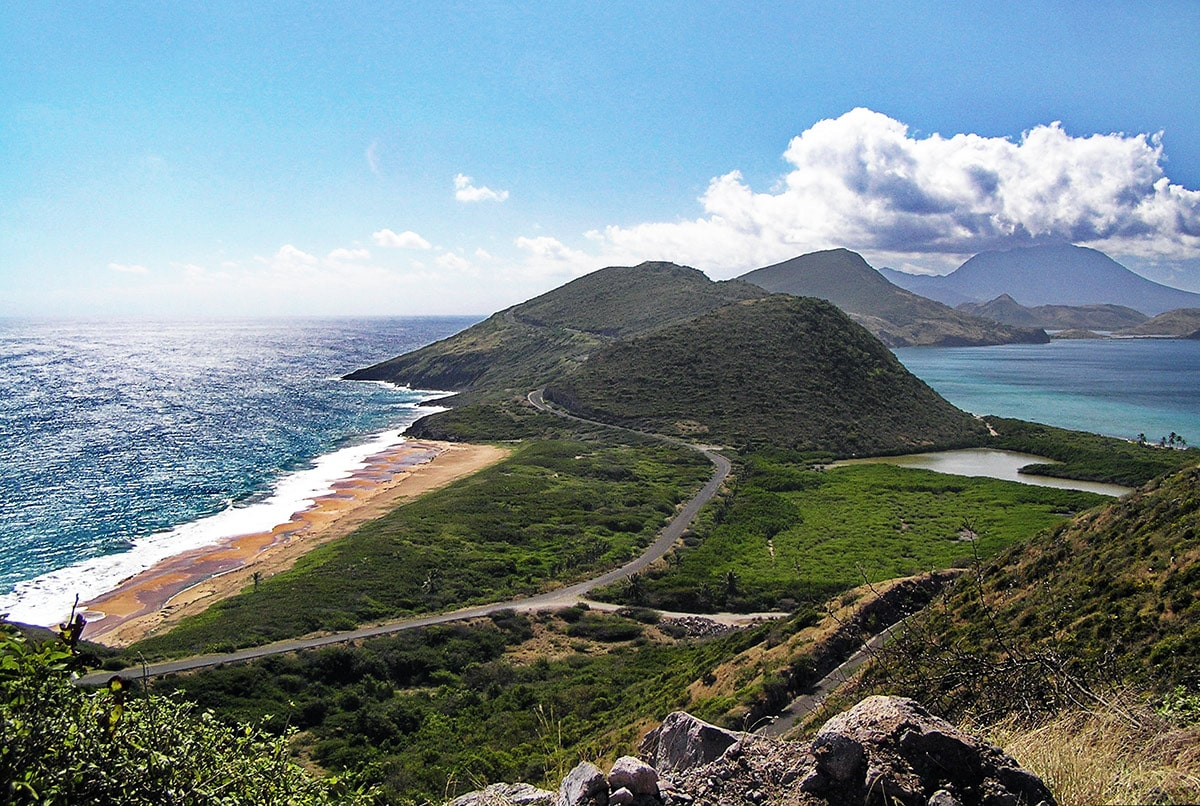 Saint Kitts and Nevis islands (in the far background)