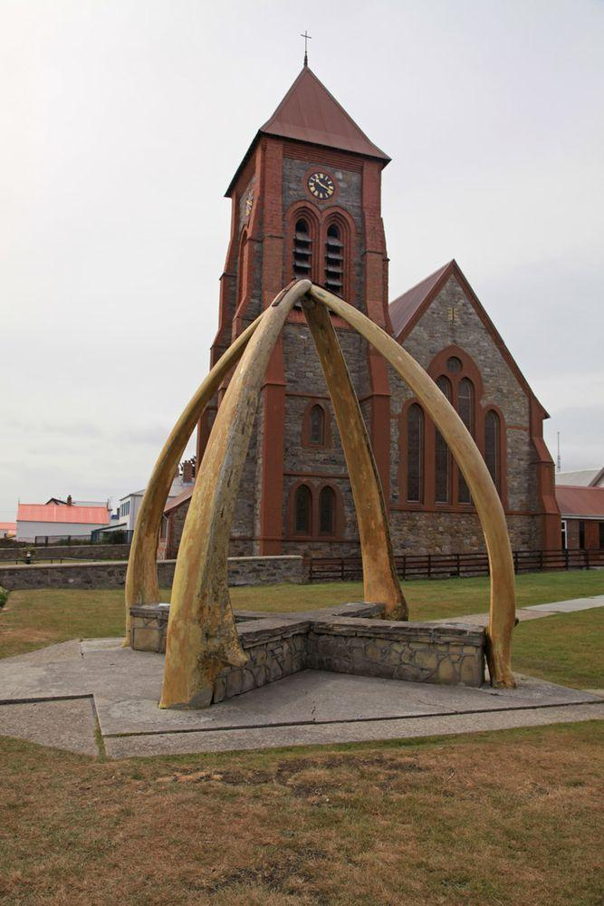 Whalebone Arch in the front of Christ Church Cathedral in Stanley, Falkland Islands