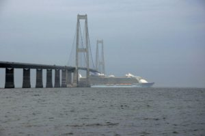 Great Belt Bridge with the largest cruise ship - Allure of the Seas - under it