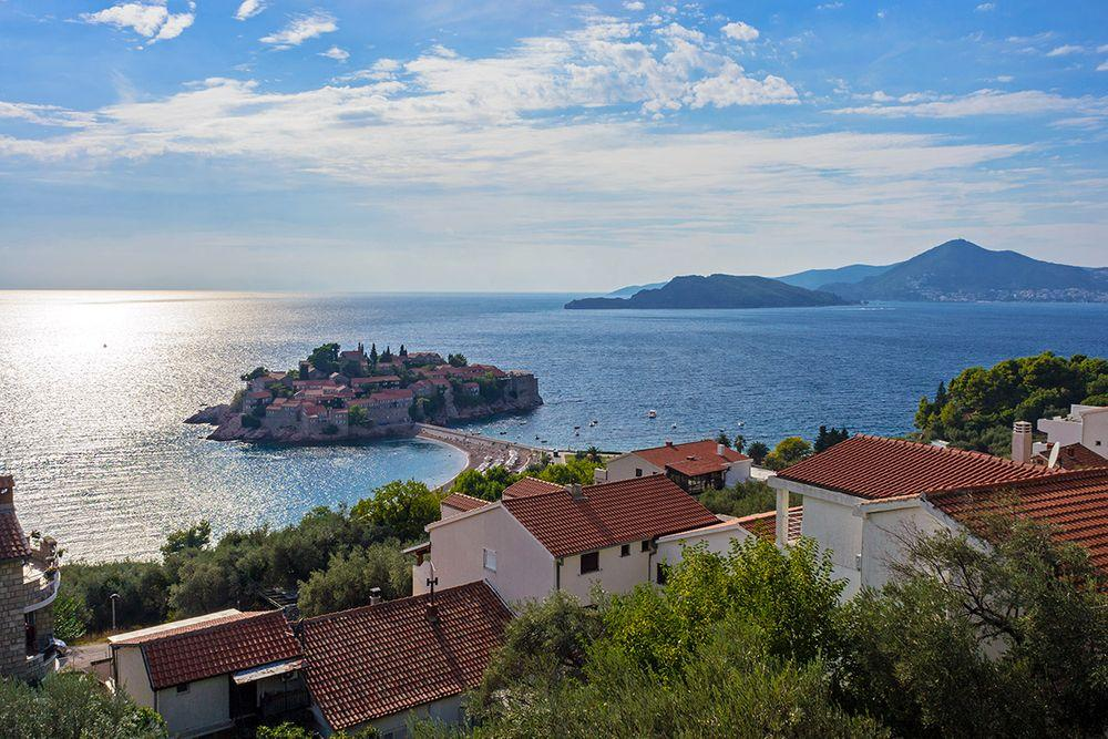 Sveti Stefan from the distance, Montenegro
