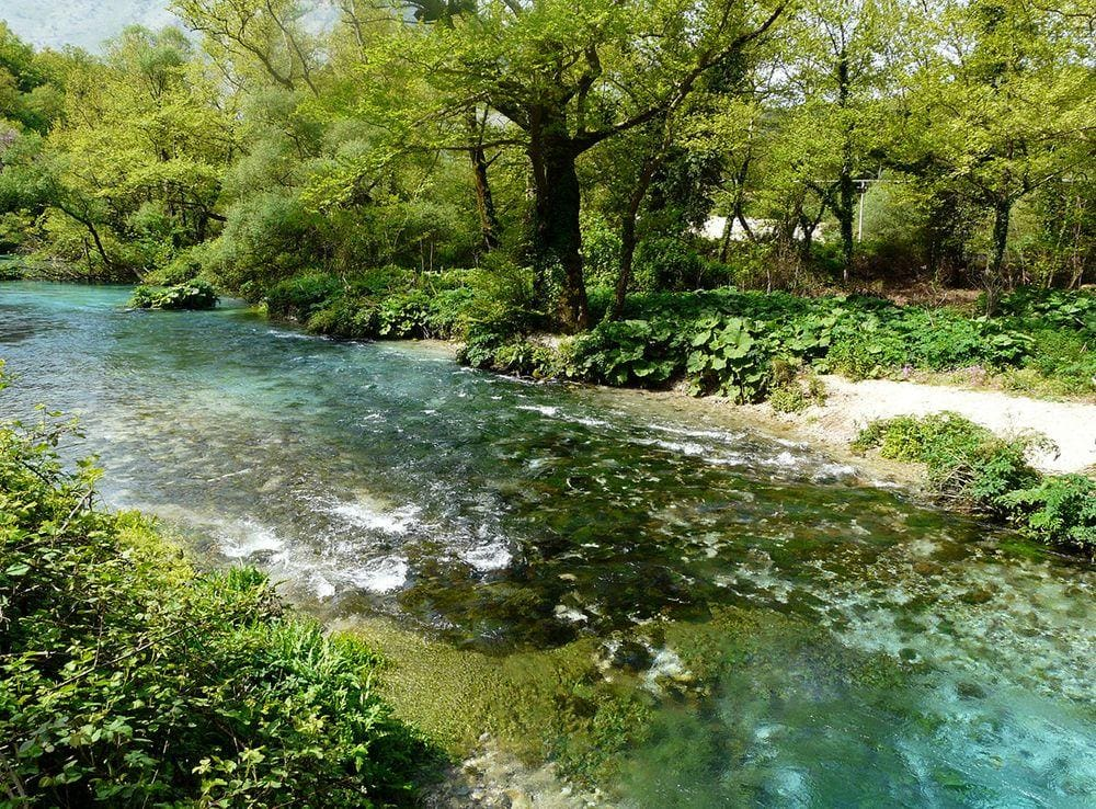 This stream is formed by the powerful Syri i Kaltër, Albania