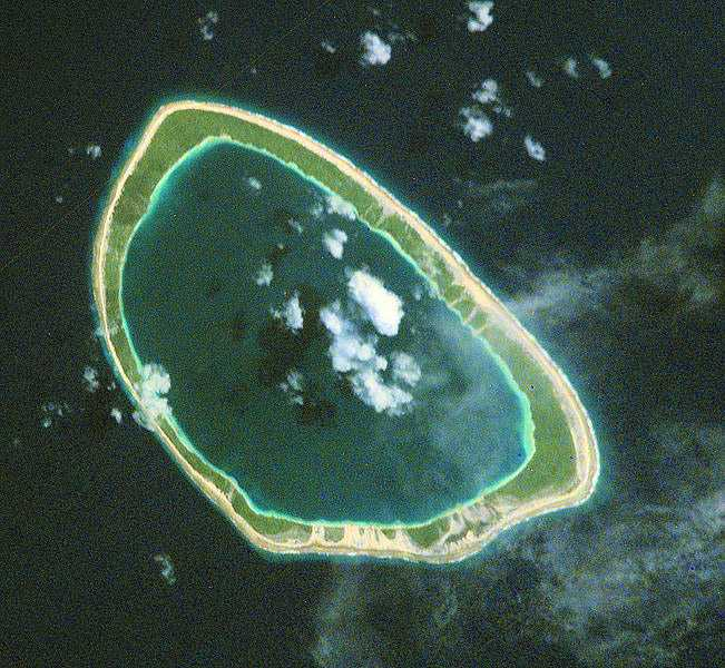 Taiaro island with lagoon, Tuamotu Islands
