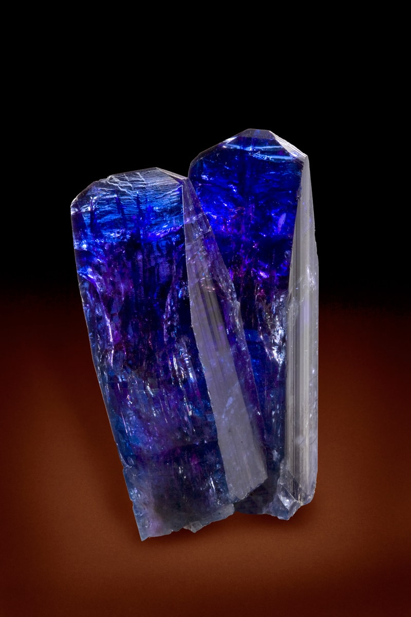 Tanzanite crystals of exceptionally high quality, from Merelani Hills, Tanzania
