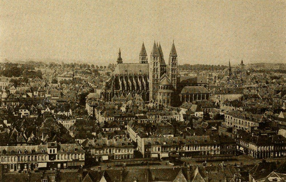 Tournai Cathedral rises above the city, around 1915